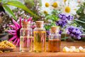Bottles of essential oil with echinacea, chamomile, lavender Royalty Free Stock Photo