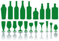 Bottles and glasses,  Royalty Free Stock Images