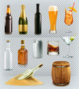 Bottles and glasses alcohol drink. Vector icons set