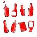 Bottles ketchup set. Vector Royalty Free Stock Photo