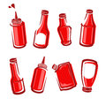 Bottles ketchup set. Vector