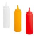Bottles of mustard, ketchup and mayonnaise