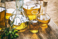 Bottles of olive oil on a table Royalty Free Stock Photo