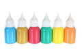 Bottles of paint on white background Stock Image