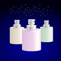 Bottles for perfume set of on blue background vector Royalty Free Stock Photography