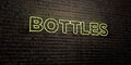BOTTLES -Realistic Neon Sign on Brick Wall background - 3D rendered royalty free stock image Royalty Free Stock Photo