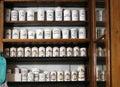 Bottles on the shelf of old pharmacy Royalty Free Stock Photo