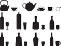 Bottles with specific glasses illustrated on white Stock Photo
