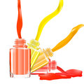 Bottles with spilled nail polish over white background with splatter enamel. 3D illustration. Vivid bright colors: red, pink, yell Royalty Free Stock Photo