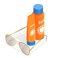 Bottles of sunscreen lotion and sunglasses. Tube container of sun cream isolated on white glossy background. Summer, sun