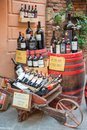 Bottles of Vino Nobile, the most famous wine from Montepulciano, on display outside a winery, on July 21, 2017, in Montpulciano, Royalty Free Stock Photo