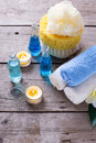 Bottles wih essential aroma oil, towels,  candles and wisps Royalty Free Stock Photo