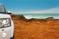 The bottom of australia rocky edge along great australian bight with just a bit my car so you get feeling adventure Stock Image