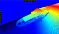 At the bottom of the sea this is a picture bathymetric shipwreck bryza k which lies baltic m was made by a multi beam echo Stock Image