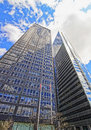Bottom up view on exxon building and time life building new york usa may in midtown manhattan new york usa Royalty Free Stock Photos
