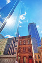 Bottom up view on skyscrapers mirrored in glass in philadelphia pennsylvania usa it is central business district Royalty Free Stock Image