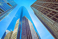 Bottom up view of skyscrapers reflected in glass in philadelphia pennsylvania usa it is central business district Royalty Free Stock Photography