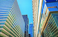 Bottom up view of skyscrapers reflected in glass in philadelphia pennsylvania usa it is central business district Royalty Free Stock Images
