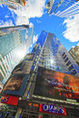 Bottom up view on skyscrapers in times square new york usa april midtown manhattan new york usa Royalty Free Stock Image