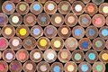 Bottom View of Stacked Round Colouring Pencils Royalty Free Stock Photo
