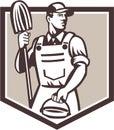 Bouclier de seau de cleaner holding mop de portier rétro Image libre de droits