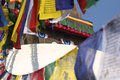 Boudhanath flads buddha s eyes and votive flags of preyers at buddhist monastery of in nepal Stock Photography