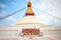 Boudhanath stupa or bodnath stupa is the largest stupa in nepal one of most remarcable symbols of buddism Royalty Free Stock Photography