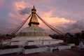 Boudhanath stupa kathmandu napal buddhist shrine with pray flags over sunset sky nepal Royalty Free Stock Photography