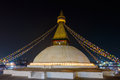 Boudhanath stupa at night in kathmandu nepal Royalty Free Stock Photo