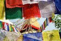 Boudhanath temple and tibetan prayer flags in Katmandu, Nepal Stock Photo