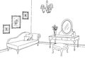 Boudoir room graphic black white interior sketch illustration