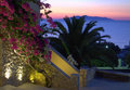 Bougainvillea palm anafy island and sunrise kamari santorini picture taken at village one fascinating place Stock Photo