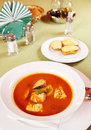 Bouillabaisse - Tomato soup with seafoods Stock Photos
