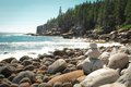 Boulder beach in acadia national park mount desert island in maine usa Stock Image