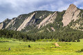 Boulder colorado flatirons climbing rocks in Stock Image