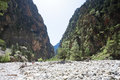 Boulder within the riverbed of the samaria gorge crete greece Royalty Free Stock Photo