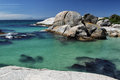 Boulders beach with huge rocks in the water at simons town on the cape peninsula near cape town south africa Stock Images