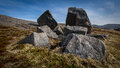 Boulders on a hill in Flatrock, Newfoundland and Labrador Royalty Free Stock Photo