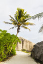 Boulders and palm trees la digue seychelles the footpath to anse source d argent in with granite Royalty Free Stock Photography