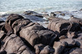 boulders on the sea coast Royalty Free Stock Photo