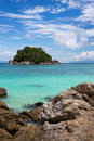 Boulders on sunrise beach koh lipe thailand island view Stock Photos