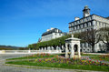 Boulevard in the french town pau of pyrenees is a of there are edifices on its northern side and a terrace with flowerbeds Royalty Free Stock Photos