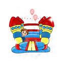 Bouncy castle childrens entertainment illustration Royalty Free Stock Photo