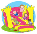 Bouncy castle party hand drawn picture of children playing on illustrated in a loose style vector eps available Royalty Free Stock Photography