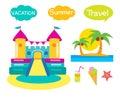 Bouncy Castle Set. Cartoon Illustrations On A White Background. Bouncy Castle Rental.