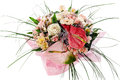 Bouquet of anthuriums, roses and orchids Royalty Free Stock Photo
