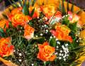 Bouquet of beautiful orange golden roses Royalty Free Stock Photo
