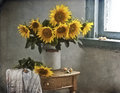 Bouquet of beautiful sunflowers in a vase Royalty Free Stock Photo