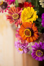 Bouquet of beautiful wild flowers in a wattled Royalty Free Stock Photo