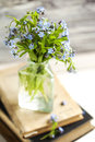 Bouquet of blue wild forget-me-not flowers. Selective focus. Shallow depth of field